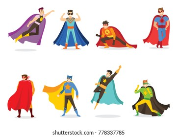 Vector illustration in flat design of male superheroes in funny comics costume