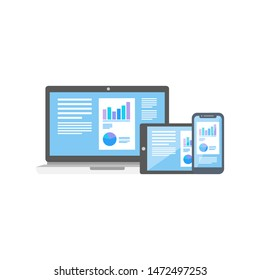 Vector illustration of flat design responsive web display device isolated white background