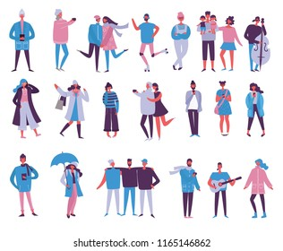 Vector illustration in flat design of season different people with phones, musical instruments and other