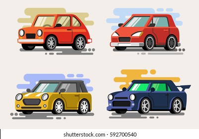 Vector illustration of flat design set car