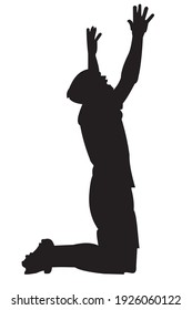 Vector illustration of flat design shadow of a man on his knees with his arms waving up. 6000x4000 pixel perfect