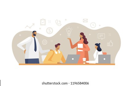 Vector illustration in flat design style with business concept. Young workers with line business icons. Brainstorming around the table. White background isolated