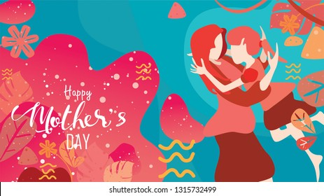 Vector illustration flat design style happy mother's day! Child daughter running and hugging to her mum to congratulate with liquid shape background with living coral color trendy 2019. - vector