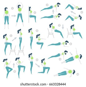 Vector illustration. Flat design, trendy style. White background isolated. HIIT, high intensity interval training, fitness exercise. Set of exercises for losing weight. Women's fitness. Improving