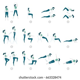 Vector illustration. Flat design, trendy style. White background isolated. HIIT, high intensity interval training, fitness exercise. Collection of characters of sports young girls. Work on yourself