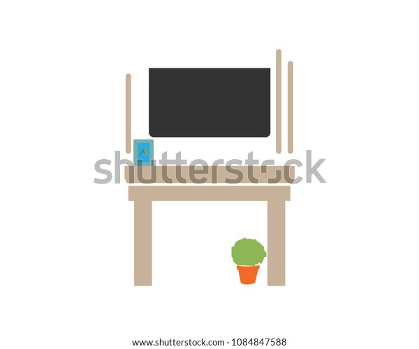 Vector illustration of flat design TV and color with interior.