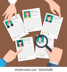 Vector illustration in flat design.Human resources management concept, searching professional staff, analyzing resume, documents papers.HR manager looking through magnifying glass on job candidates.