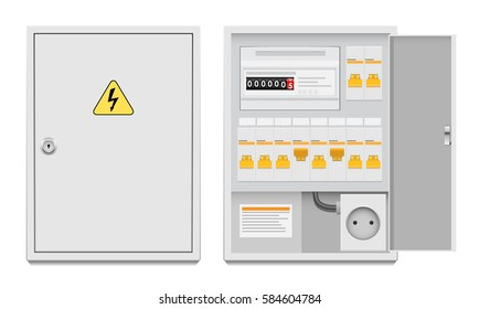 Vector illustration of a flat electrical panel. wires, switches.