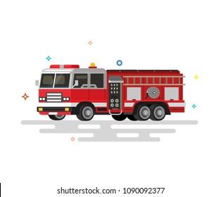 Vector illustration of flat fire engine. Colorful illustration.