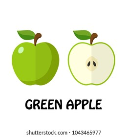 Vector Illustration Flat Green Apple isolated on white background , minimal style , Raw materials fresh fruit
