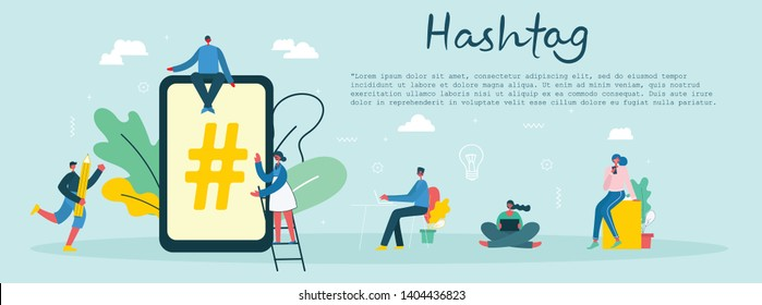 Vector illustration Flat vector hashtag big symbol on phone screen.Concept of people using mobile phone, tablet and laptop for sending posts and sharing with friends in social media.
