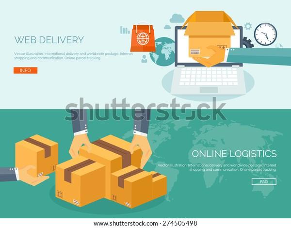 Vector Illustration Flat Header International Delivery Stock
