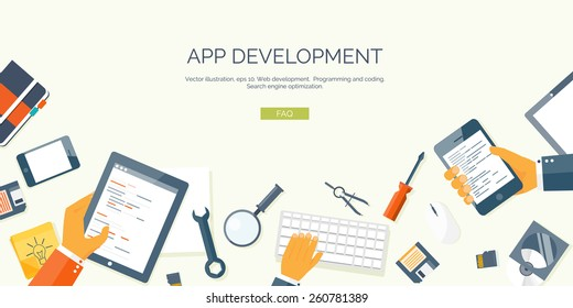 Vector illustration. Flat header. Programming and coding online. Web courses. Internet and web design. App development.