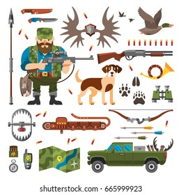 Vector illustration of flat hunting elements. Hunt set with hunter, hunting dog, duck, hunting pickup and hunting ammunition.