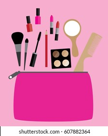 Vector illustration of flat icon of cosmetics bag with products. Vector flat design of make up. Make up elements. Make up vector details. Flat illustration of make up.