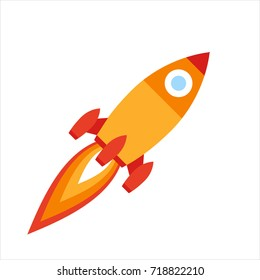 Vector illustration: flat icon with yellow and red rocket ship  isolated on white background. Project start up and development process. Innovation product and management