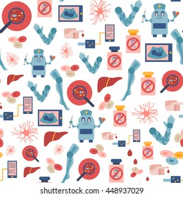 Vector illustration, flat icons on future medicine theme. Stem cells organ, robot, portable blood test, cure for cancer and diabetes, artificial limbs. Vector future medical technology background