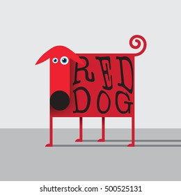 Vector illustration with flat kid styled RED DOG for branding, kids books, t-shirt prints and other