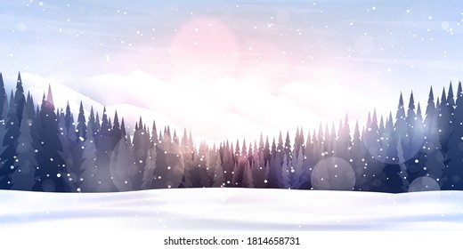 Vector illustration. Flat landscape. Snowy background. Snowdrifts. Snowfall. Clear blue sky. Blizzard. Cartoon wallpaper. Winter season. Forest trees and mountains. Design for website, poster, banner
