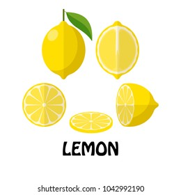 Vector Illustration Flat Lemon isolated on white background , minimal style , Raw materials fresh fruit