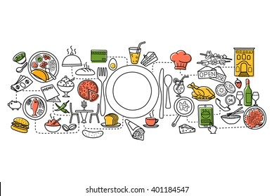 vector illustration of flat line art design of Food and Drink concept