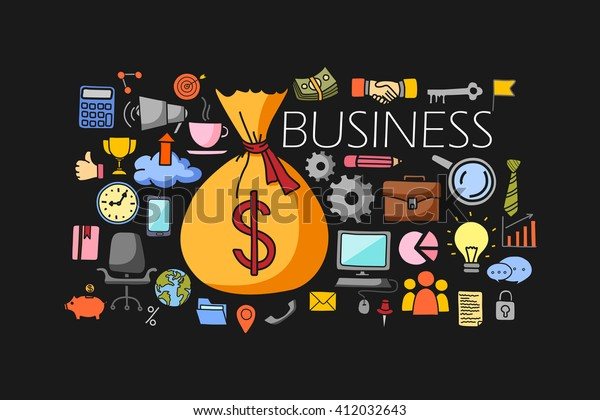 vector illustration of flat line art design of Business Finance concept