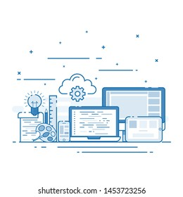 Vector illustration flat line designed web design concepts. Use for website, social, internet, media, interface, document, graphic, commercial, service and other.