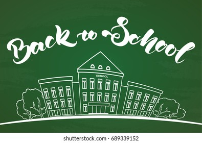 Vector illustration: Flat line white school building and lettering Back to school on blackboard background.