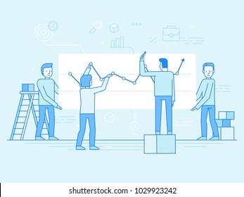 Vector illustration in flat linear style and blue color  - business analytics and marketing concept - team working on business report and analytics