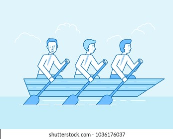 Vector illustration in flat linear style and blue color  - teamwork and cooperation concept - three men in a boat sailing towards business goals metaphor