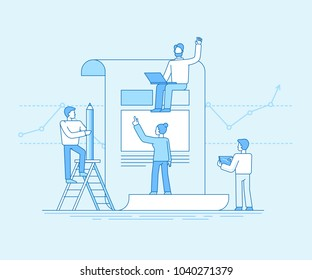 Vector illustration in flat linear style and blue color  - small people bulidng code and design and finance report for business start up - teamwork concept
