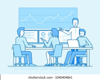 Vector illustration in flat linear style and blue colors - trading stock and investment concept - business team sitting at the computers and finance broker and consultant