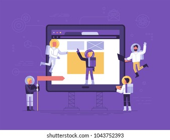 Vector illustration in flat linear style - app development concept - small people austronauts in space suits  bulidng code and design for mobile phone - start up metaphor
