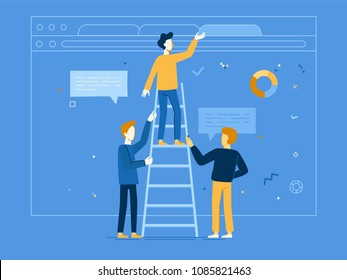 Vector illustration in flat linear style - web banner, infographics, hero image - web and app development creative concept with male characters - teamwork and cooperation