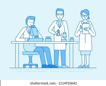 Vector illustration in flat linear style and blue color  - medical explorations and science studies - team working in the laboratory on tests and analyses