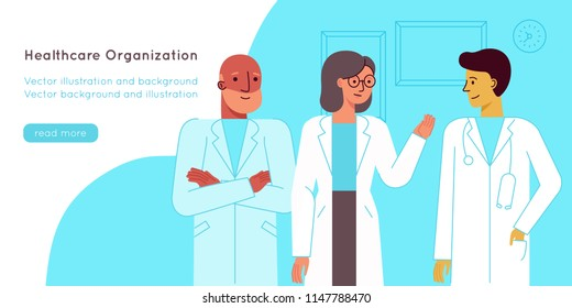 Vector illustration in flat linear style - medical team - group of doctors and nurses standing together - hospital staff