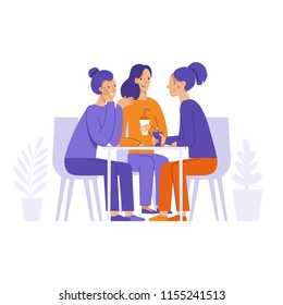 Vector illustration in flat linear style -  friends drinking coffee and chatting  - cartoon characters  sitting at table in the cafe