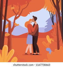 Vector illustration in flat linear style - autumn greeting card - landscape illustration with couple in love - walking in autumn forest