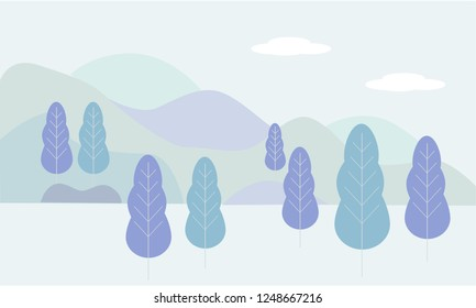 Vector illustration in flat linear style - landscape illustration with plants, trees.  leaves and forest landscape - background for banner, greeting card, poster and advertising