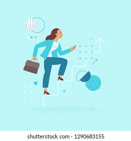 Vector illustration in flat linear style - female business character - girl power concept and woman empowerment - woman climbing up the career stairs