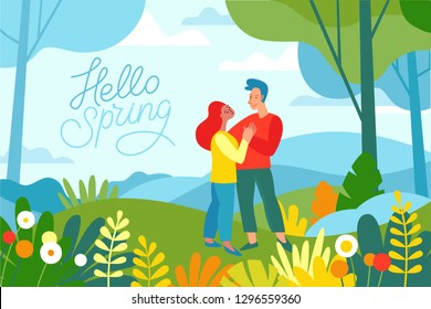 Vector illustration in flat linear style - spring illustration - landscape illustration with two characters exploring forest and trekking together - greeting card design template