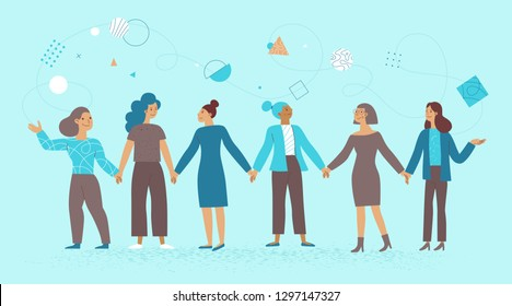 Vector illustration in flat linear style - female business characters - girl power concept and women empowering - women holding hands and working on development and promotion business and start up