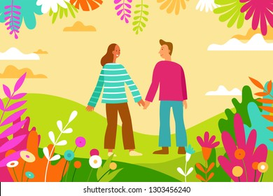Vector illustration in flat linear style - spring illustration - landscape with happy man and woman walking together holding hands - love greeting card