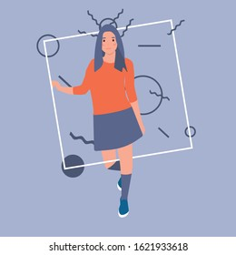 Vector illustration in flat linear style - female character - beautiful woman - fashion concept