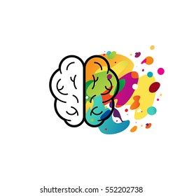 Vector illustration in flat linear style - left and right brain hemispheres - analytical and creative thinking