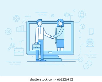 Vector illustration in flat linear style and blue - outsource business and remote work concept - male and female partners shaking hands - online cooperation