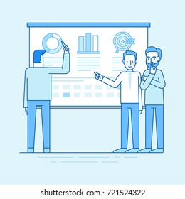 Vector illustration in flat linear style and blue color - team working on business plan and strategy development - men standing near conference board with data and analytics