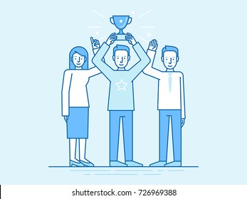 Vector illustration in flat linear style and blue color - successful team concept - leader holding trophy cup and partners standing with hands up - winning business competition