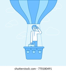 Vector illustration in flat linear style and blue color  - idea concept - business man flying ahead and looking for new trends and perspectives