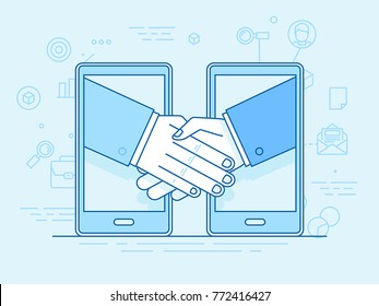 Vector illustration in flat linear style and blue colors - outsource business and remote work - handshake and mobile phones